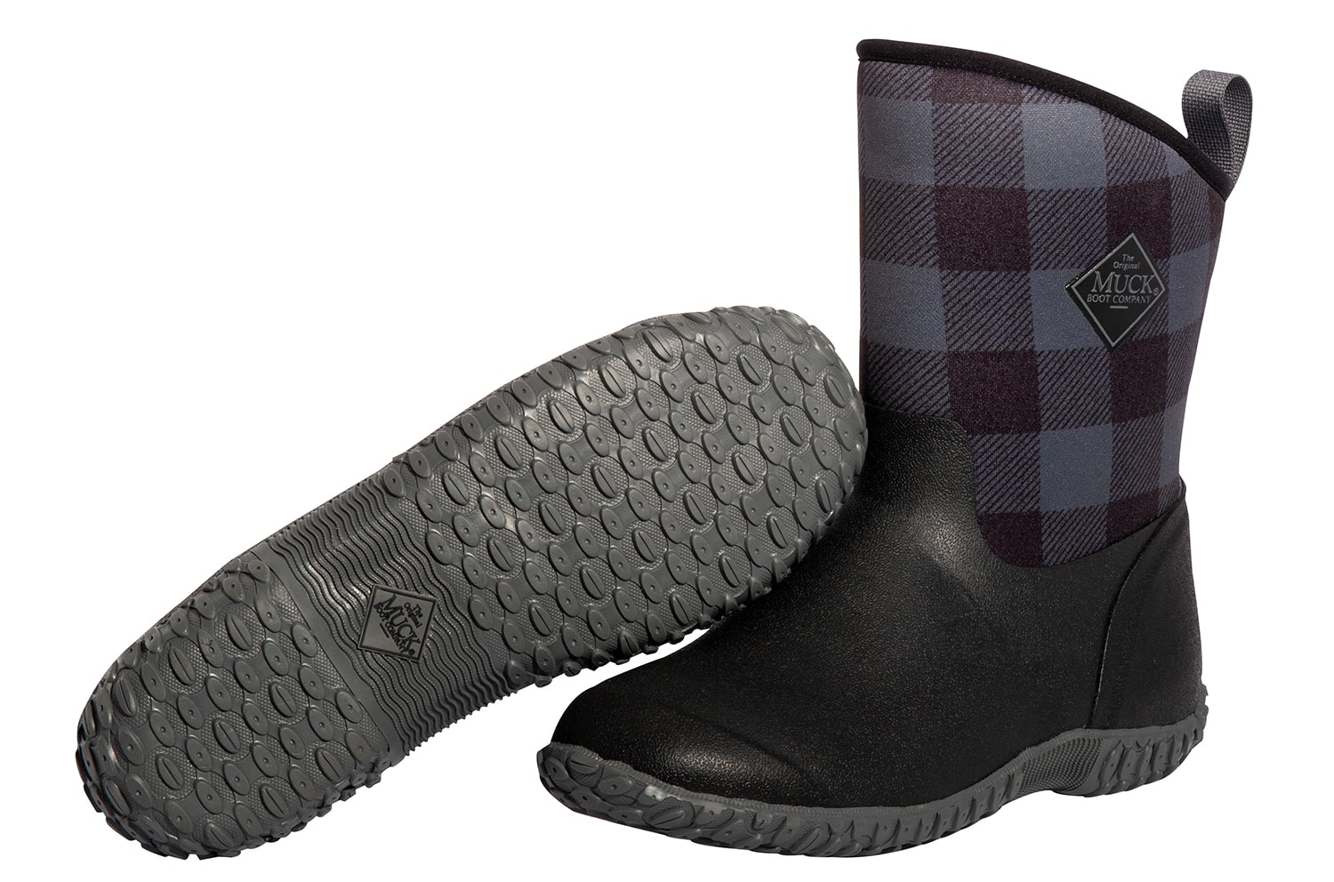 Gray Buffalo Plaid Muckster Boots