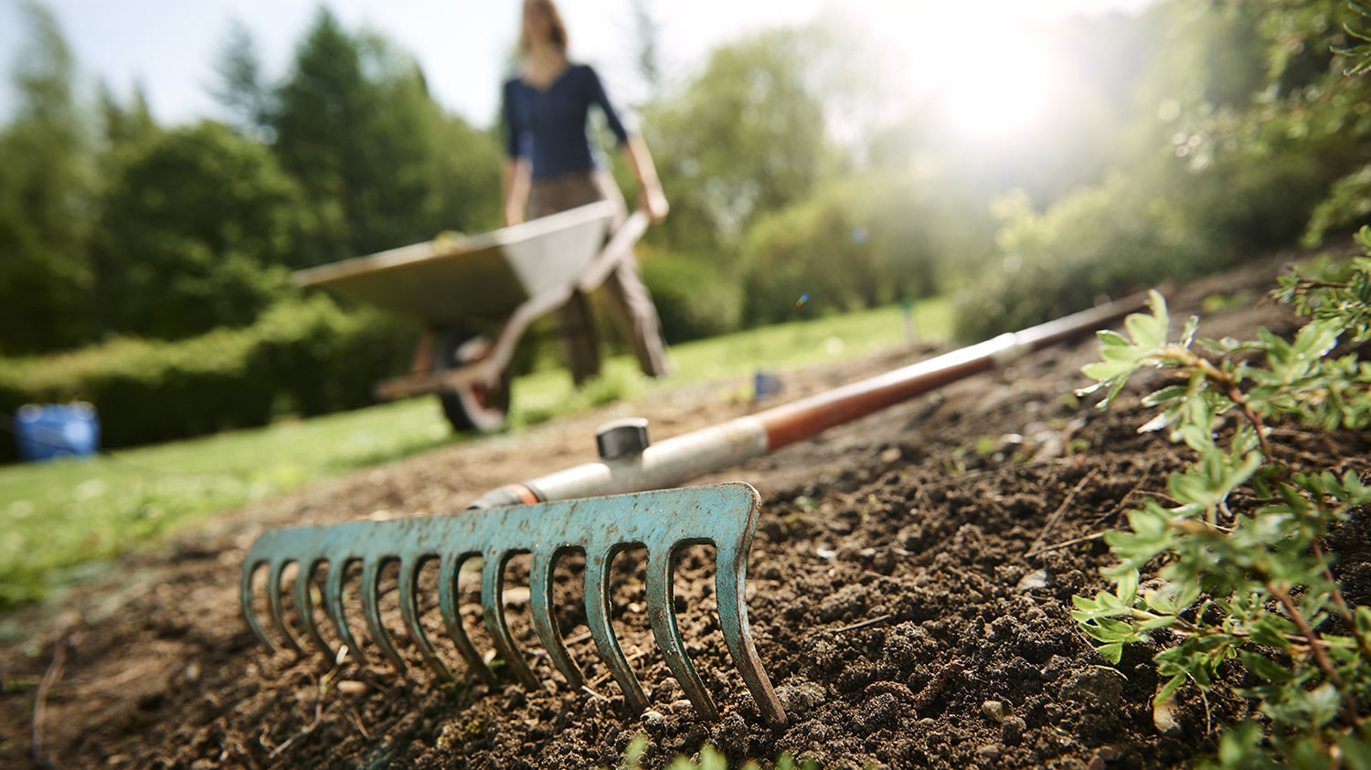 Mothers Day Garden Gift Ideas Blog - rake on ground in garden with low depth of field woman in background