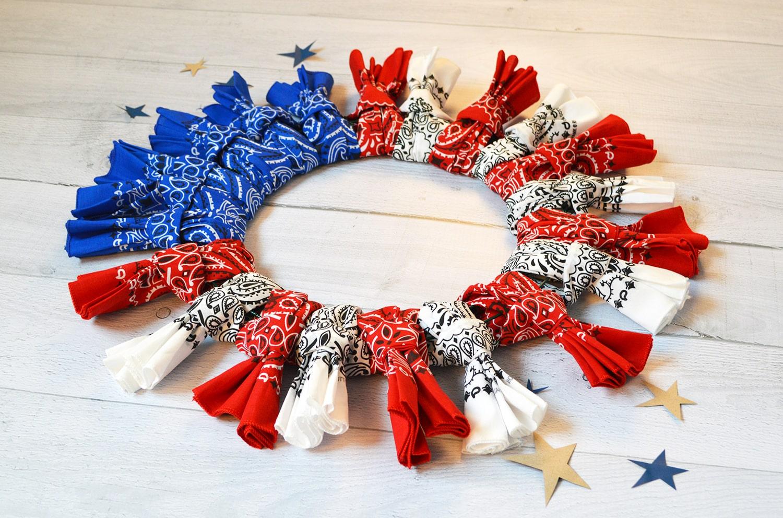Patriotic Bandana Wreath Craft DIY Tutorial Blog