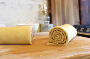 Cinnamon Rolls dough rolled up and cut
