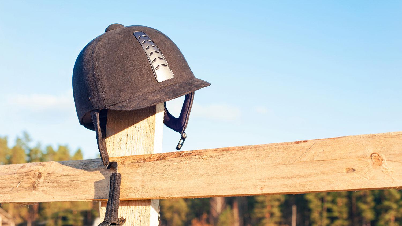 Equestrian Helmet on Post