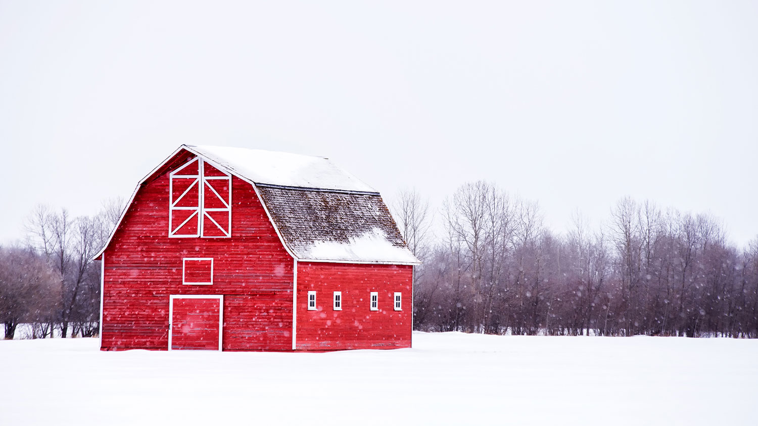 Red barn in the winter