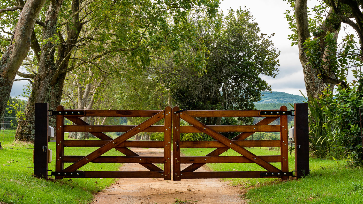Wooden Gate Entrance to a Farm